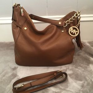 NWOT brown leather MK bag with crossbody strap